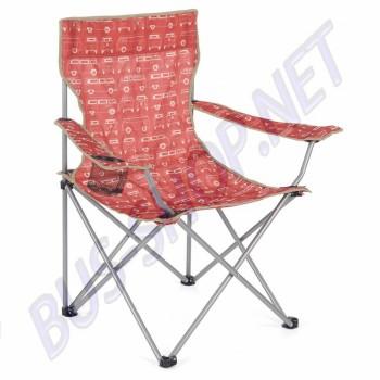 Chaise pliante avec accoudoirs et porte boisson Combi rouge | dream-machine.fr